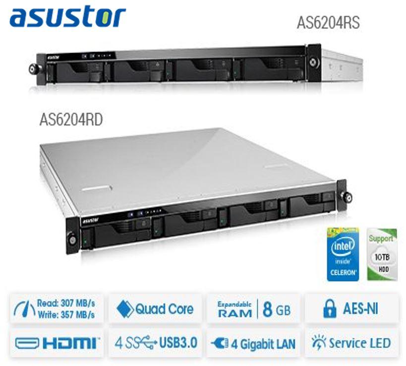 Asustor AS6204RS 4 Bay 1U Rack single power NAS Intel Celeron Quad Core 1.6GHz 4GB DDR3L 4xGbE 3xUSB3.0 WoL Hardware encryption Virtualization