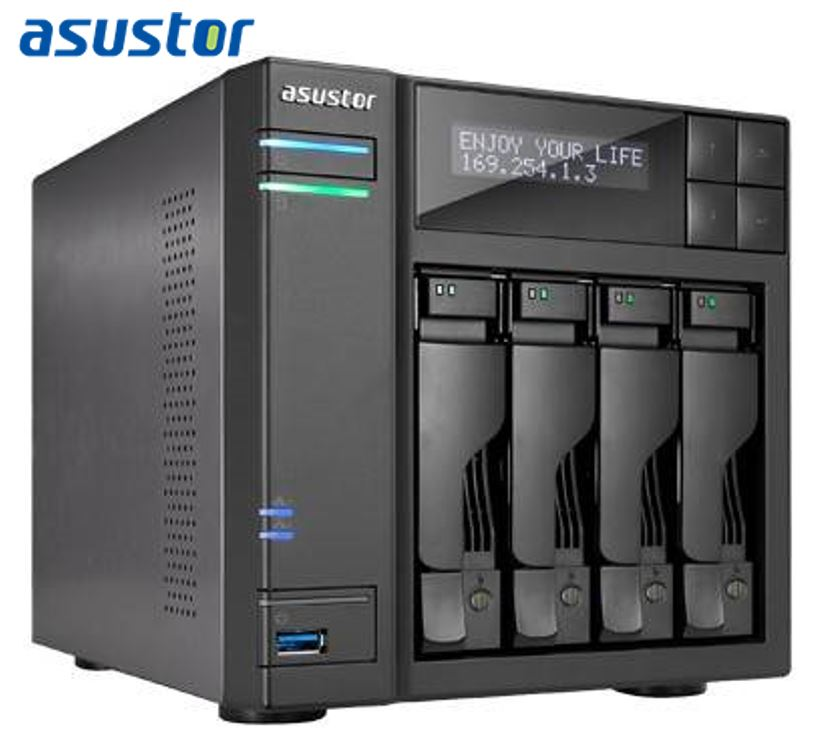 Asustor AS6404T 4 Bay NAS Intel Celeron J3455 Quad Core 1.5 GHz 8GB DDR3L 2xGbE 3xUSB3.0 1xUSB3.0Type-C HDMI WoW AES-NI hardware encryption Virtualiza