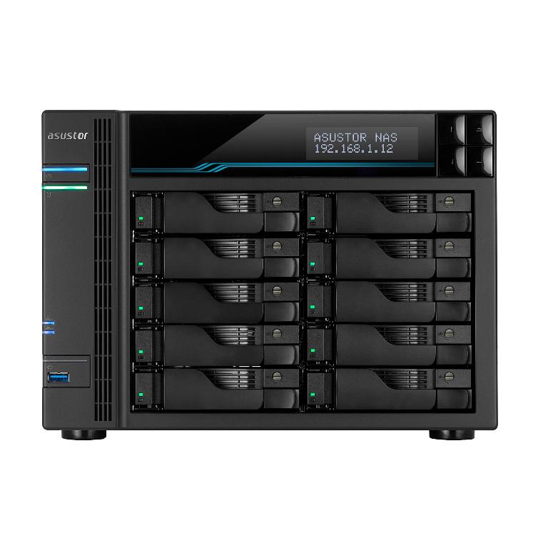 Asustor AS7110T 10 Bay NAS, i9 Xeon E-2224 3.5GHz Quad-core 8GB DDR4, 2.5GbE x3, 10GbE x1, M.2 slots x2, USB 3.2 Gen2 Type-A x2 USB 3.2 Gen1 SATA