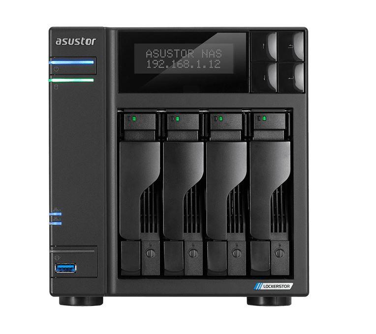 Asustor AS6604T 4 Bay NAS Intel Celeron J4125 Quad Core 2.0GHz 4GB DDR4 2xGbE 3xUSB3.2 HDMI 2.0a x1 4 x SATA3 AES-NI hardware encryption Virtualiza