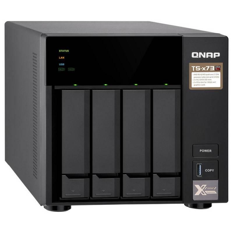 QNAP TS-473-4G 4 Bay NAS AMD RX-421ND Quad Core 2.1GHz 4GB DDR4 512MB DOM 4x3.5' 2xM.2 PCIe 10GbE Hot Swap 4xUSB3.2 Tower