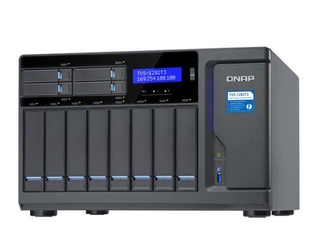 QNAP TVS-1282T3-i5-16G 12 Bay Diskless Thunderbolt™ 3 NAS i5-7500 16GB UDIMM DDR4 2 SATA 6Gb/s  2.5' SSDM.2 SSD, 64-bit x86 cache 2yrs warranty