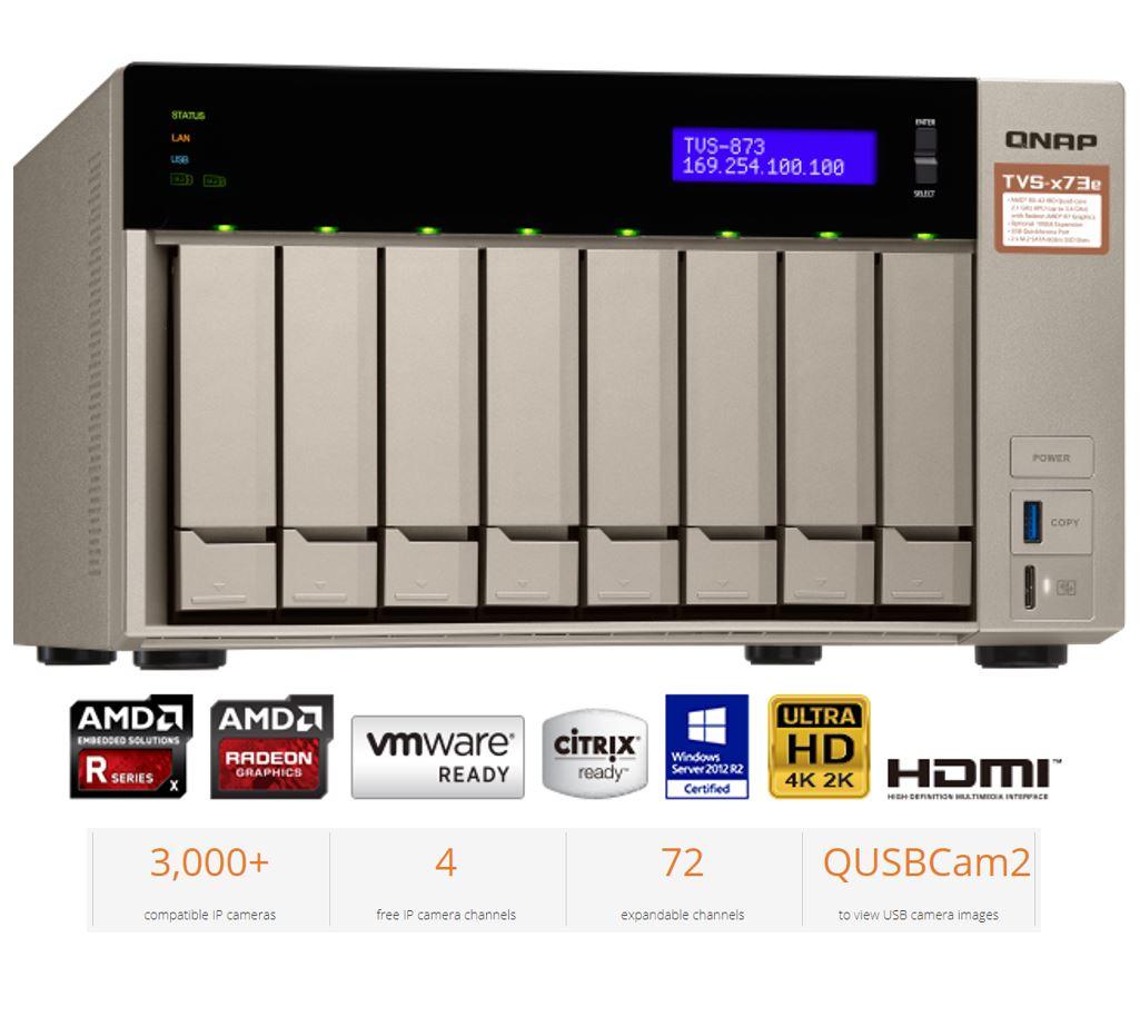 QNAP TVS-873E-8G 8-Bay NAS AMD RX-421BD Quad-Core 2.1-3.4GHz 8GB DDR4 2xM.2 2xPCIe 4xUSB3.0 2xHDMI 4K Hot-swappable 4xGigabit LAN ~BABQ-TVS-873-8G