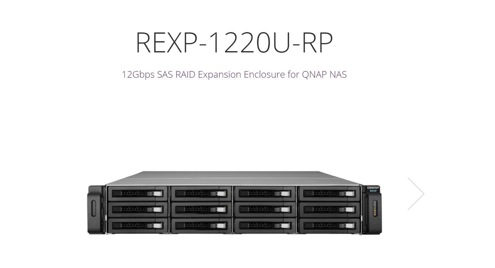QNAP REXP-1220U-RP 12-Bay SAS 12G Expension Unit for Enterprise Models, Without Rail Kit. 3 yr AR wty (NO RAIL)