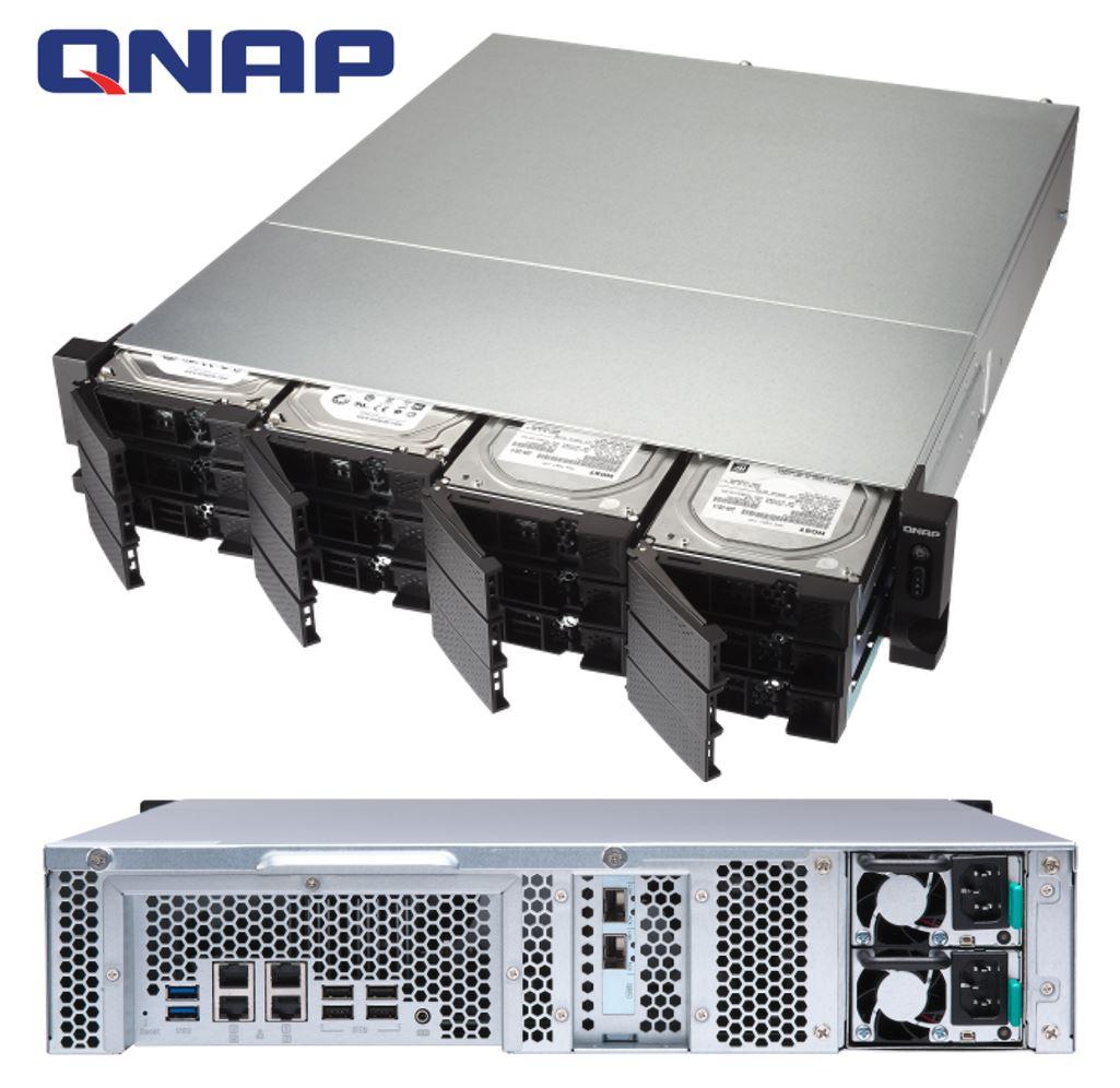 QNAP TS-1273U-RP-8G 12-Bay NAS AMD RX-421ND Quad-Core ~3.4GHz 8GB DDR4 2xM.2 1xPCIe 2x10GbE SFP+ 4xGigabit LAN Port 6xUSB Redundant PSU 2U Rackmount