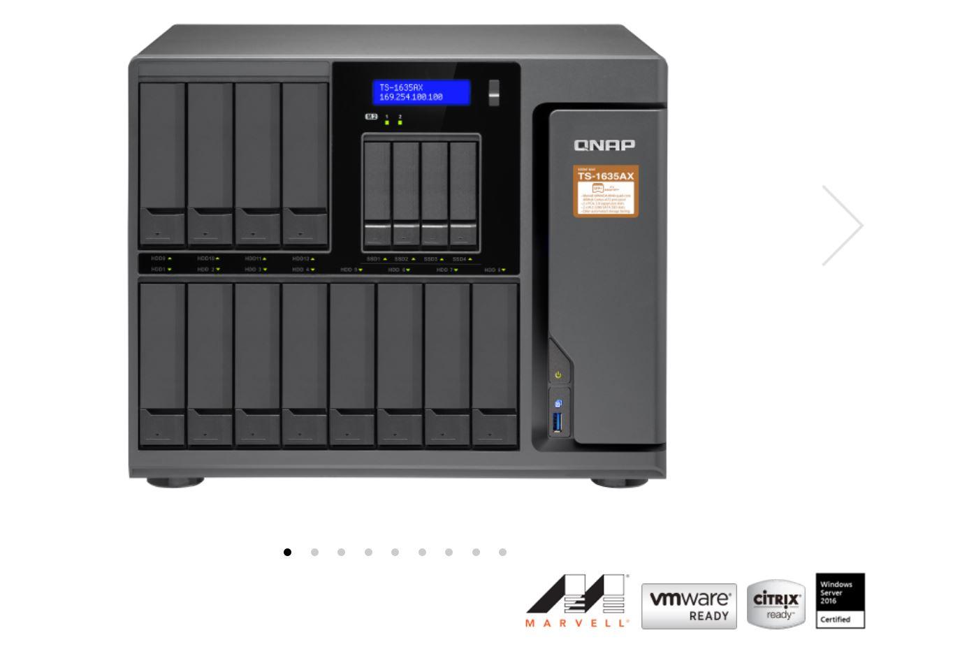 QNAP TS-1635AX-8G 16 BAY NAS (NO DISK), CORTEX-A72, 8GB,USB, GbE(2), 10GbE SFP+(2), Tower, 2 Years warranty