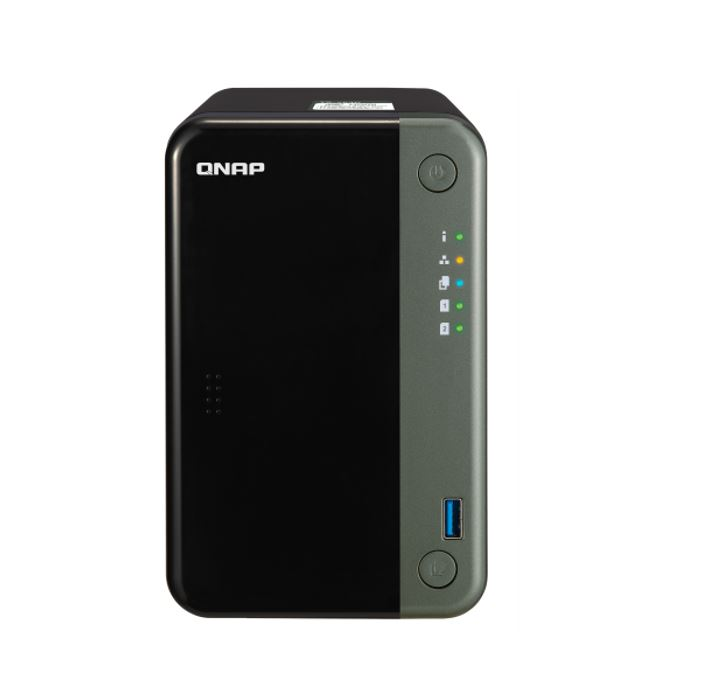 QNAP TS-253D-4G 2 bay Intel® Celeron® J4125 quad-core 2.0 GHz 4 GB SO-DIMM DDR4 2x3.5-inch SATA 2xGigabit LAN 1xPCIe 3xUSB 2.0 Hot-swappable Tower