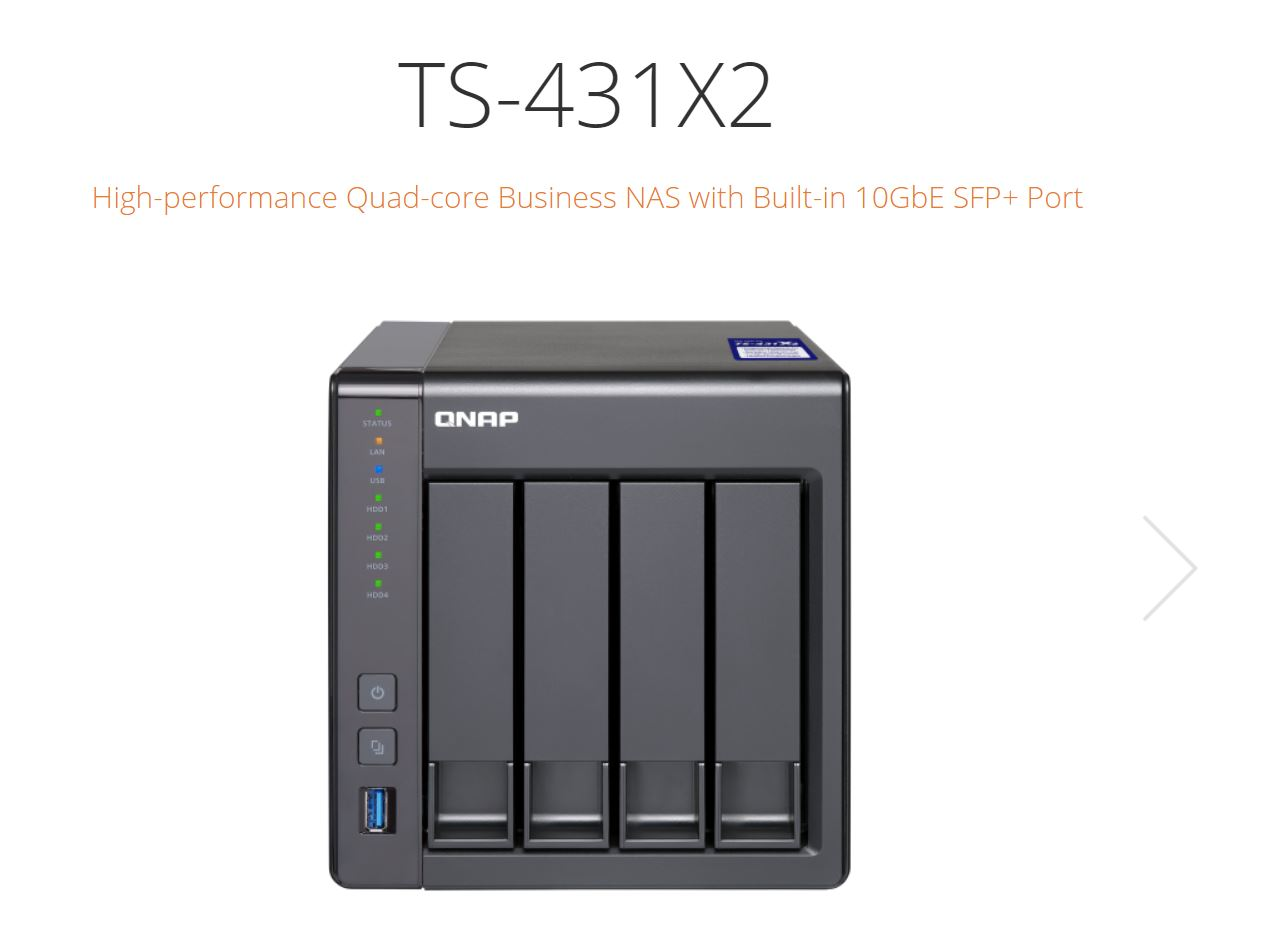 QNAP TS-431X2-8G, 4 BAY NAS (NO DISK), AL-314 QUAD CORE, 8GB,GbE(2),10GbE SFP+,Tower. 2 Years Warranty