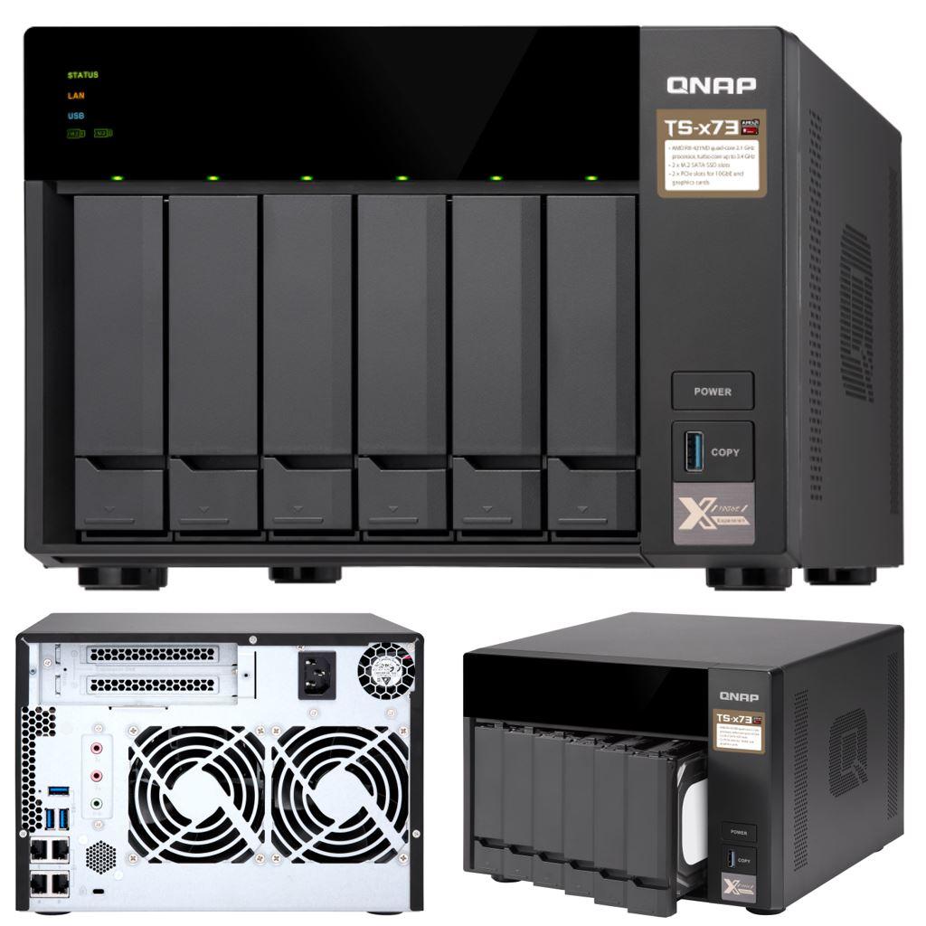 QNAP TS-673-8G 6-Bay NAS AMD RX-421ND Quad-Core ~3.4GHz 8GB DDR4 512MB DOM 2xM.2 2xPCIe 4xUSB3.0 4K 4xGigabit LAN Hot-swappable Tower