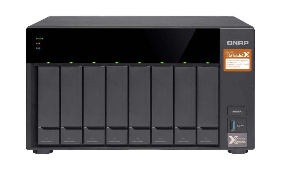 QNAP TS-832X-2G 8 Bay NAS AL-324 ARM® Cortex-A57 quad-core 1.7GHz 2 GB SODIMM DDR4 Hot-swappable 2 x10GbE SFP+ 3 xUSB 3.2 Gen 2 yrs warty