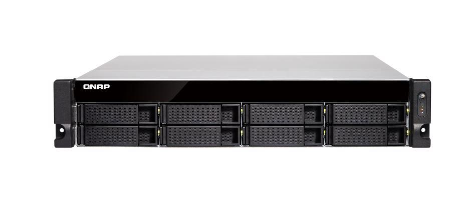 QNAP TS-883XU-RP 8 Bay NAS Intel® Xeon® E-2124 quad-core 3.3 GHz processor 8GB DDR4 Hot-swappable 4xGE 2x10GbE SFP+ 4xUSB 3.2 2U Rackmount