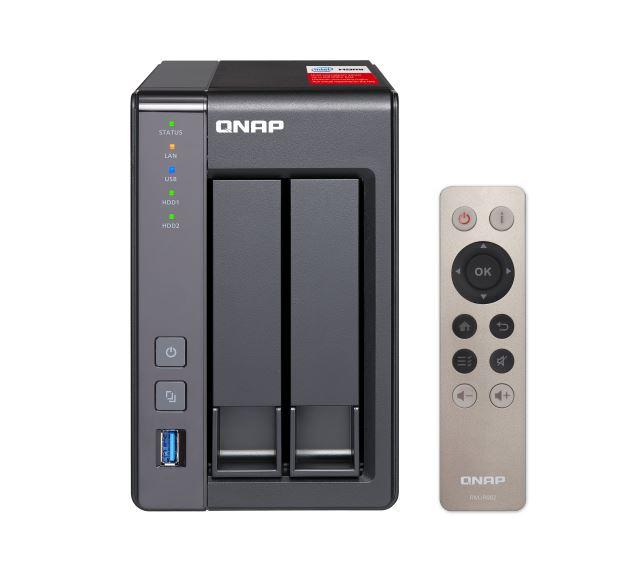 QNAP TS-251+-2G, NAS Server, 2-BAY, 2GB, CEL QC-2.0GHz, USB, GbE(2), TWR, 2YR