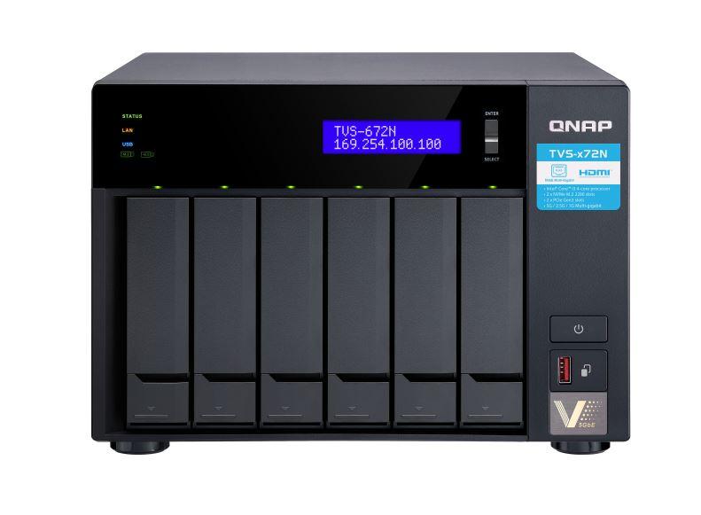 QNAP TVS-672N-i3-4G Intel® Core™ i3-8100T quad-core 3.1 GHz processor, 4 GB RAM (2 GB x2)