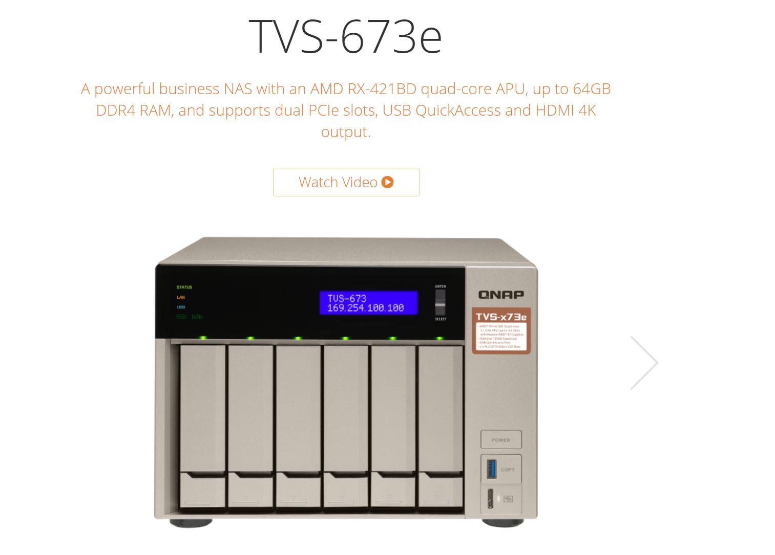 QNAP TVS-673e-8G 6 Bay NAS , AMD RX-421BD 2.1-3.4GHZ , 8GB RAM , DDR4 ( 64GB Max )
