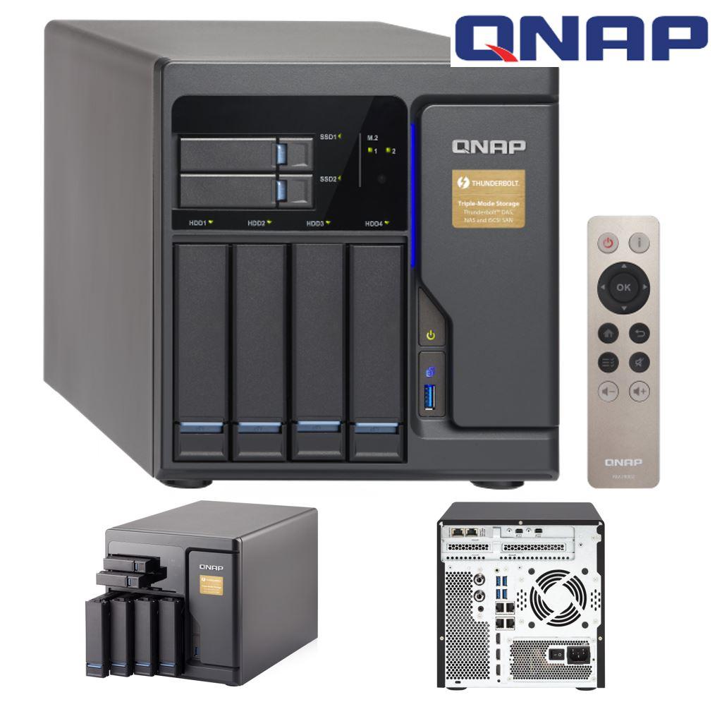 QNAP TVS-682T-I3 6-Bay NAS Intel i3-7100 Dual-Core 3.9GHz 8GB DDR4 512MB 2.xM.2 2xPCIe 2xThunderbolt 2x10GBase-T 4x GbE 3xHDMI 5xUSB3.0 Hot-swap Tower