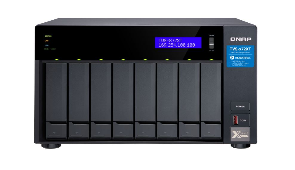 QNAP TVS-872XT-I5-16G Intel® Core™ i5 8400T 6-core 1.7 GHz 16 GB RAM (8 GB x2) 64-bit x86 Hot-swappable 1*10 Gigabit Ethernet Port USB 3.2 Tower 2yrs