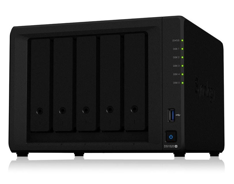 Synology DiskStation DS1520+ 5 Bay NAS Intel Celeron J4125 4-core 2.0 GHz 8 GB DDR4 Hot swappable 4x1GbE RJ-45 2xUSB 3.0 3yrs wty