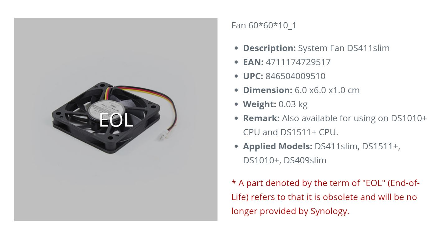 Synology DS411 REPLACEMENT FAN