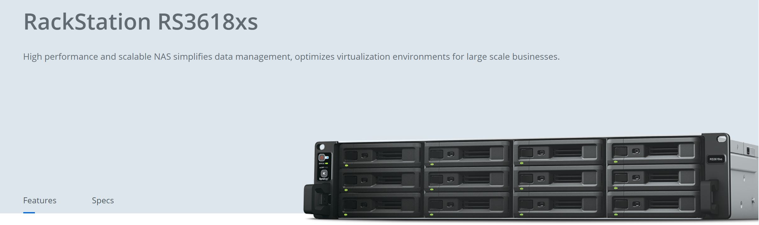 Synology RackStation RS3618xs 12-Bay 3.5' Diskless 4xGbE NAS (2U Rack), Intel Xeon D-1521 quad-core, 8GB RAM,2 x USB3.0, Scalable- with SRS