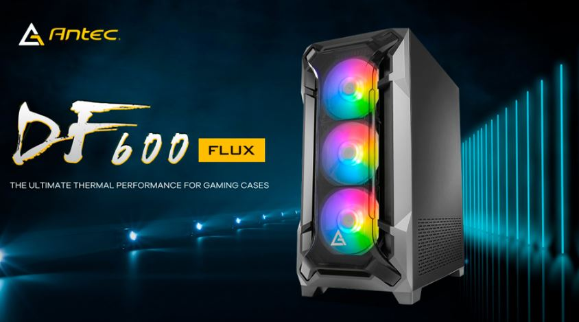 Antec DF600 FLUX High Airflow, ATX, Tempered Glass with 3x ARGB Fants in Front, 1x Rear, 1x PSU Shell (Reverse Fan blade) Gaming Case