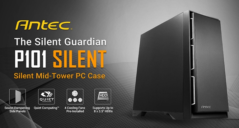Antec P101 Silent ATX, E-ATX Case, 1x 5.25'Ext, 2x 2.5' SSD, 8x 3.5' HDD. VGA up to 450mm, CPU Height 180mm. PSU 290mm. Two Years Warranty