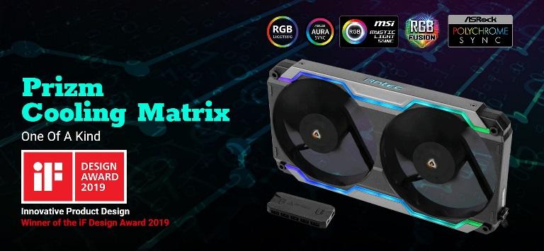 Antec Prizm Cooling Matrix.120mm x 2 FDB PWM Fans, ARGB Single Bracket  + Fan Control Box up to 5x PWM Fans.