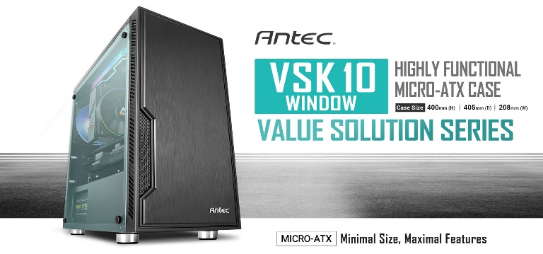 Antec VSK10 Window mATX Case. 2x USB 3.0 Thermally Advanced Builder's Case. 1x 120mm Fan. Two Years Warranty