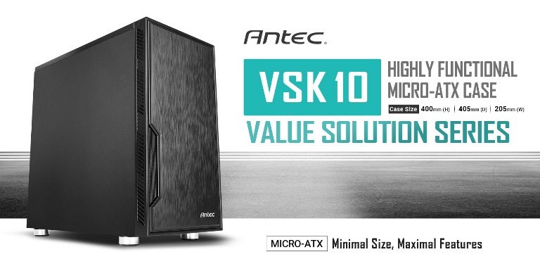 Antec VSK10 mATX Case. 2x USB 3.0 Thermally Advanced Builder's Case. 1x 120mm Fan. Two Years Warranty