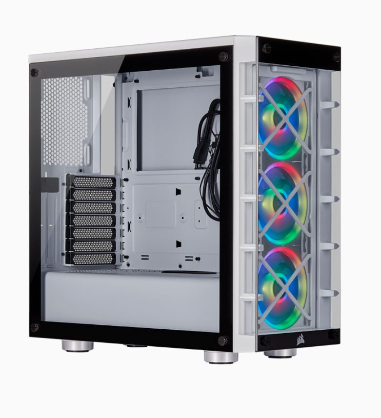 Corsair  iCUE 465X RGB ATX WHITE (LL120 RGB Fan) Mid-Tower Smart Case V2