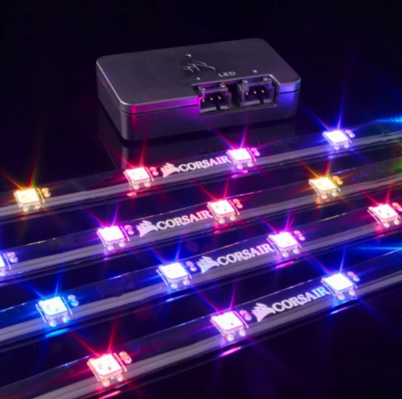 Corsair Lighting Node PRO with 4x RGB LED Strips and Controller. 2x RGB FAN Hub