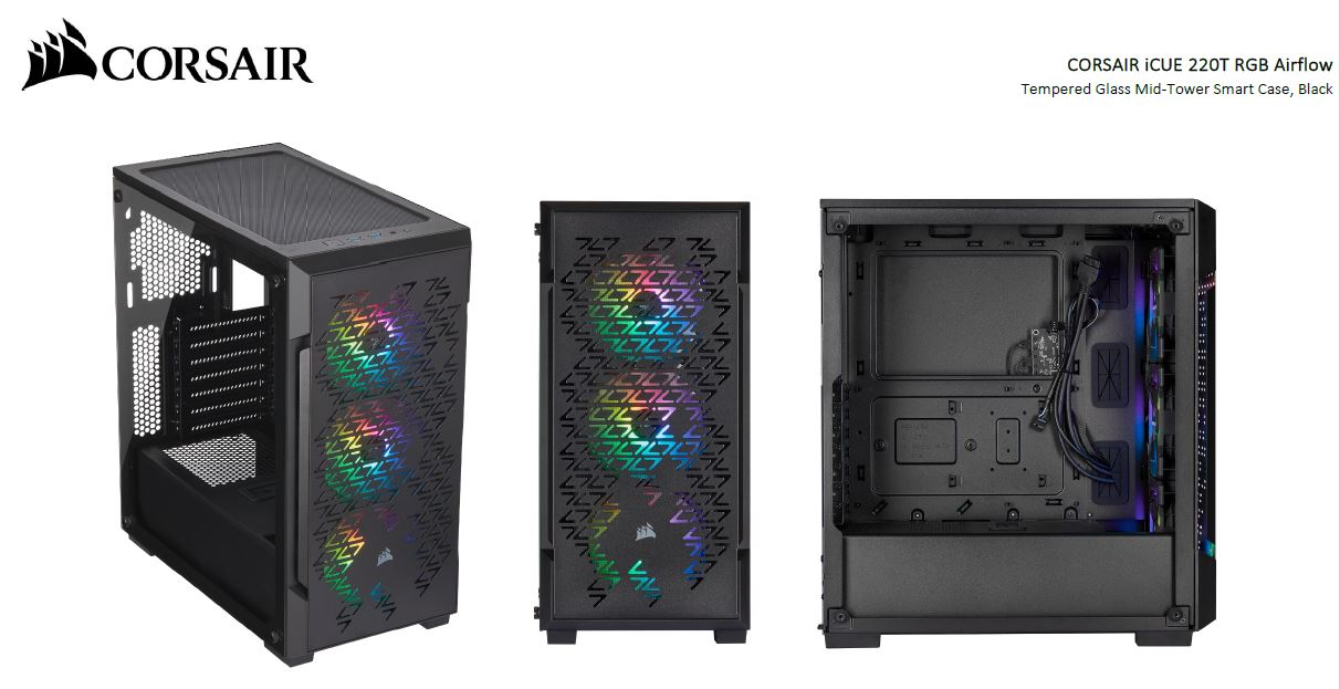 Corsair iCUE 220T RGB Airflow Smart ATX, mATX, Mini-ITX Case - Black. 2 Years Warranty.
