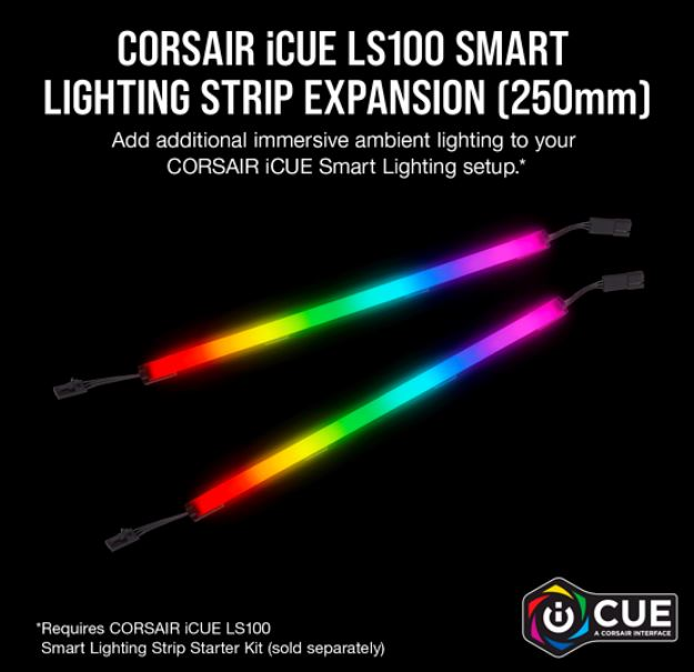 Corsair iCUE LS100 Smart Lighting Strip Expansion Kit -2x 250mm Addressable LED Strip, RGB Ext Cable, Adhesive Tape, Cable Clips. 2 Years Warranty.