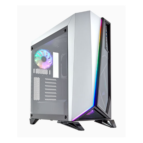 Corsair Carbide SPEC-OMEGA RGB ATX Mid-Tower Tempered Glass Gaming Case, Brilliant RGB LED front fascia, 2x RGB HD Fan, White with Black Trim
