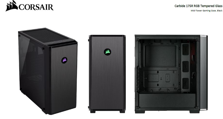 Corsair Carbide 175R RGB ATX Tempered Glass Case. Two Years Warranty