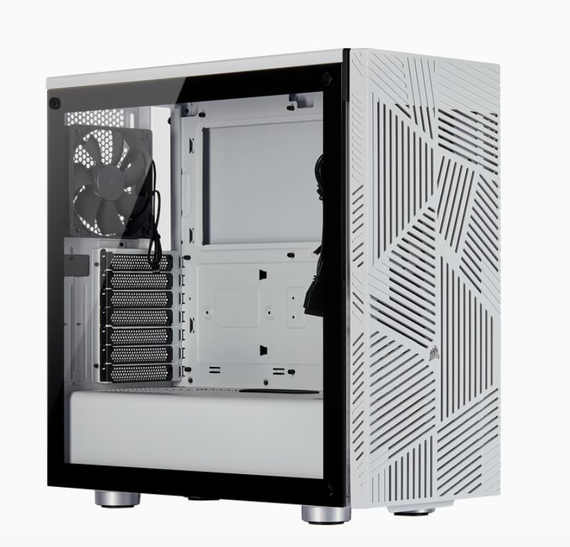 Corsair Carbide Series 275R Airflow ATX Tempered Glass White, 3x 120mm Fans pre-installed. USB 3.0 x 2, Audio I/O. Case