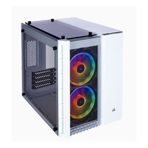 Corsair Crystal Series 280X RGB Tempered Glass Micro-ATX Case, White