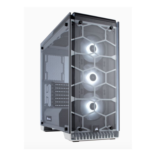 Corsair 570X RGB Crystal Series. 3x 120mm RGB LED Fan, ATX Gaming Case, White Trim