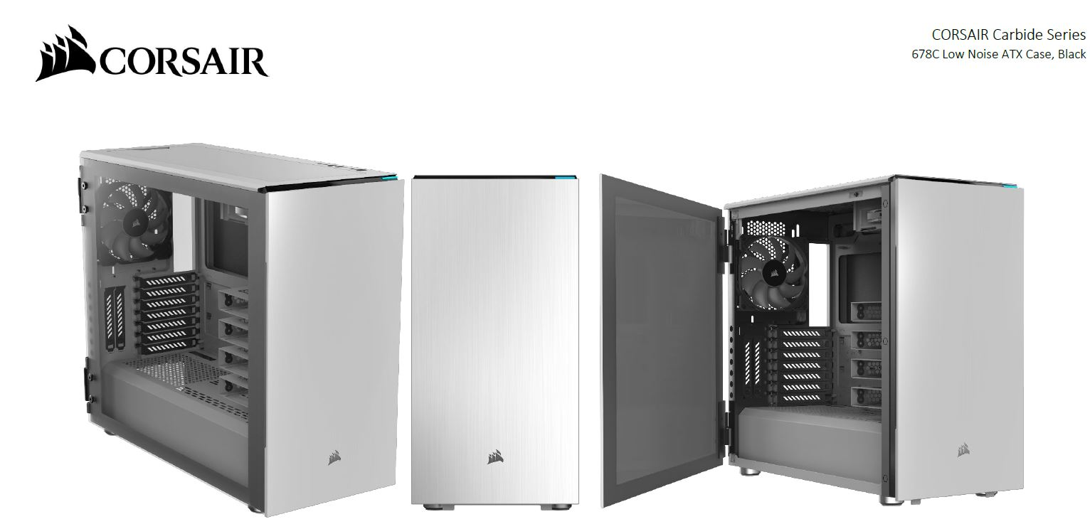 Corsair Carbide Series 678C E-ATX Low Noise Tempered Glass ATX, 1x 5.25' Ext  6x 3.5', 3x 2.5  Case, White PWM Fan Controller, 2 Yrs Warranty