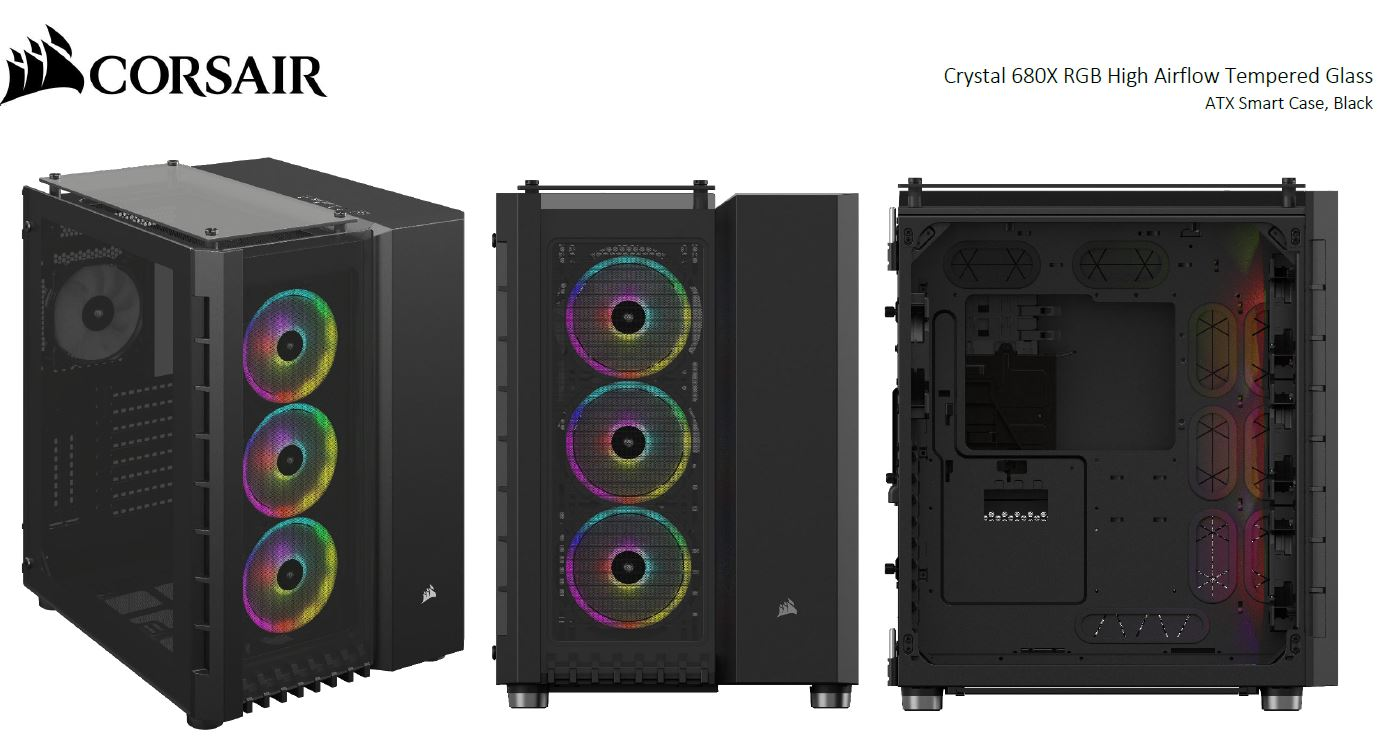 Corsair Crystal Series 680X RGB ATX High Airflow, USB 3.1 Type-C, Tempered Glass, Smart Dual Chamber Cube Case, Black.
