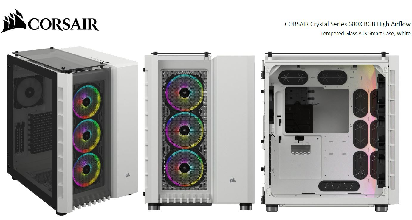 Corsair Crystal Series 680X RGB ATX High Airflow, USB 3.1 Type-C, Tempered Glass, Dual Chamber Cube Case, White.