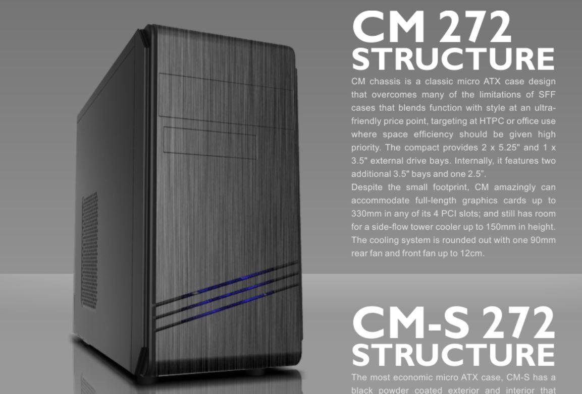 Casecom CM-272  mATX w/550W, 1 x Blue 12CM LED Fan, 1xUSB3.0 + 2xUSB2.0 + HD Audio
