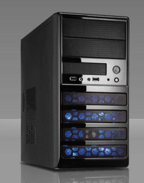 Casecom CM-431 Case Blue 550W mATX.ATX, Blue,USB3, 2YR