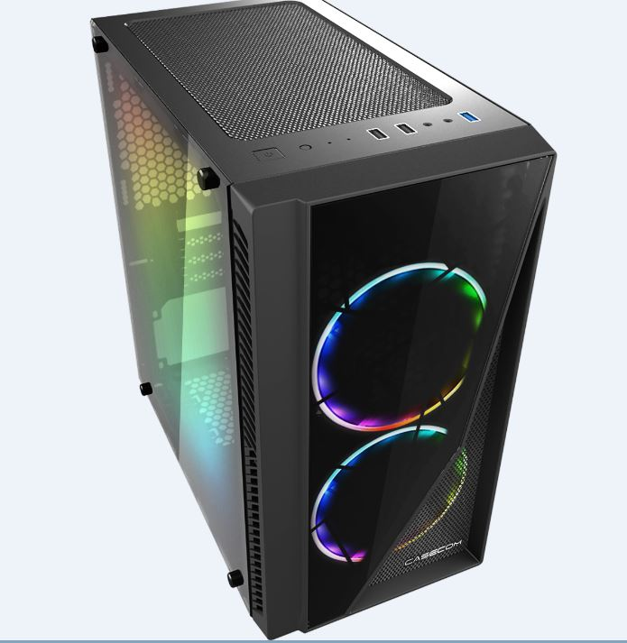 Casecom Gamming XM-91 Front  Side Transparent Temper glass  Micro ATX with no PSU-has 2x 12CM 18 LED fans  6 colours Single ring ,  0.5SPCC