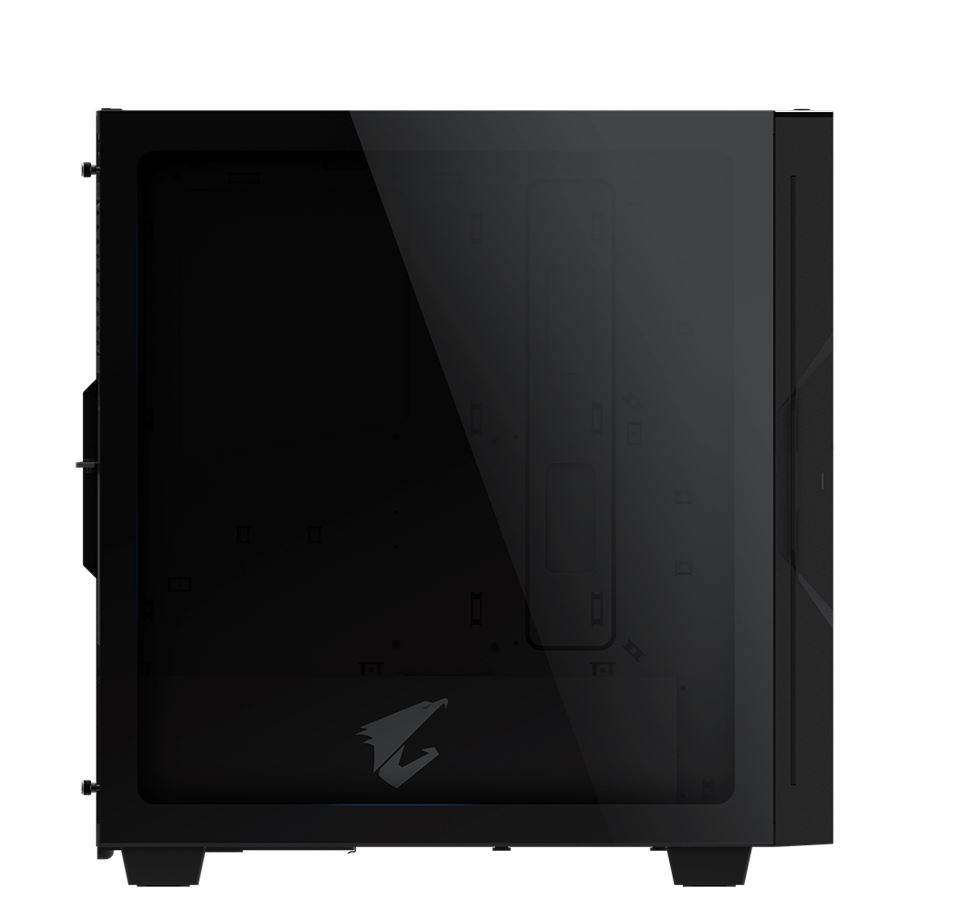 Gigabyte AORUS AC300G Tempered Glass ATX Mid-Tower PC Gaming Case 2x3.5' 3x2.5' RGB Detachable Dust Filter Liquid Cooling Compatible PSU Shroud HDMI