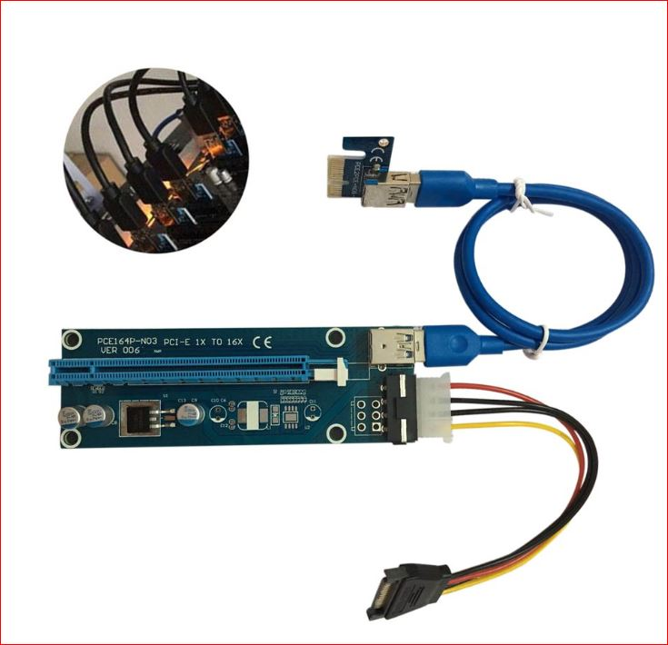 Astrotek PCI-E PCI Express 1x to 16x Adapter Riser Card Extension Power USB 3.0 Internal Cable - for mining / BTC / ETH crypto server 008 Version