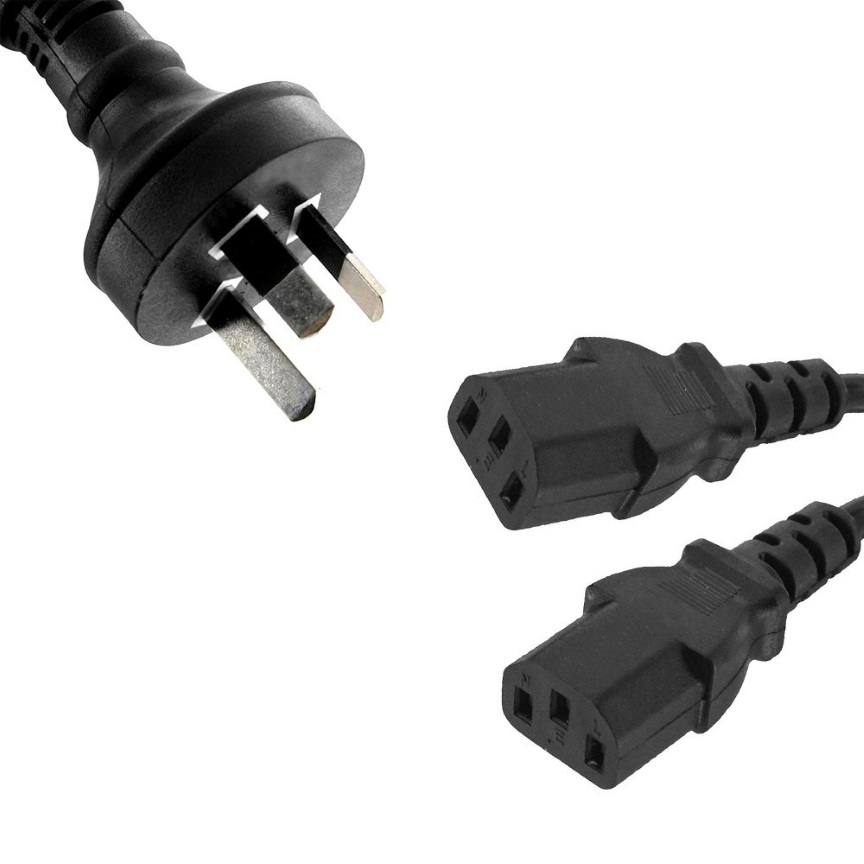 8Ware Power Cable 3m 3-Pin AU to 2 IEC C13 Male to Female