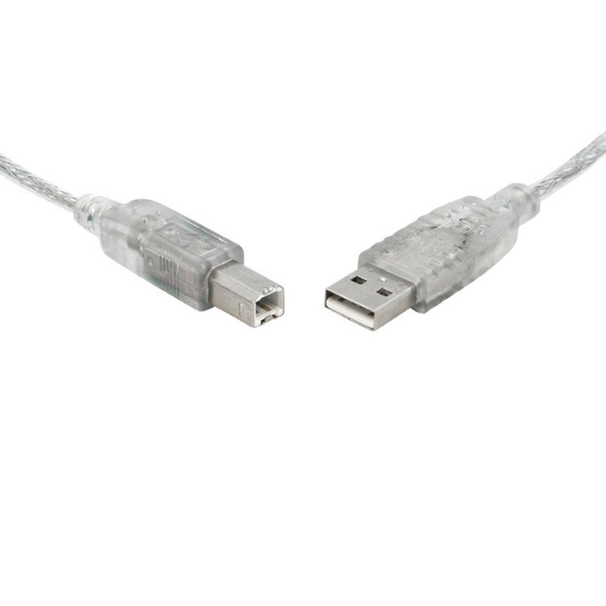 8Ware USB 2.0 Cable 1m A to B Transparent Metal Sheath UL Approved