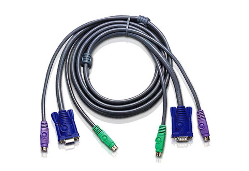 Aten 1.2m VGA  PS/2 HDB15M-HDB15F Slim KVM Cable(LS)
