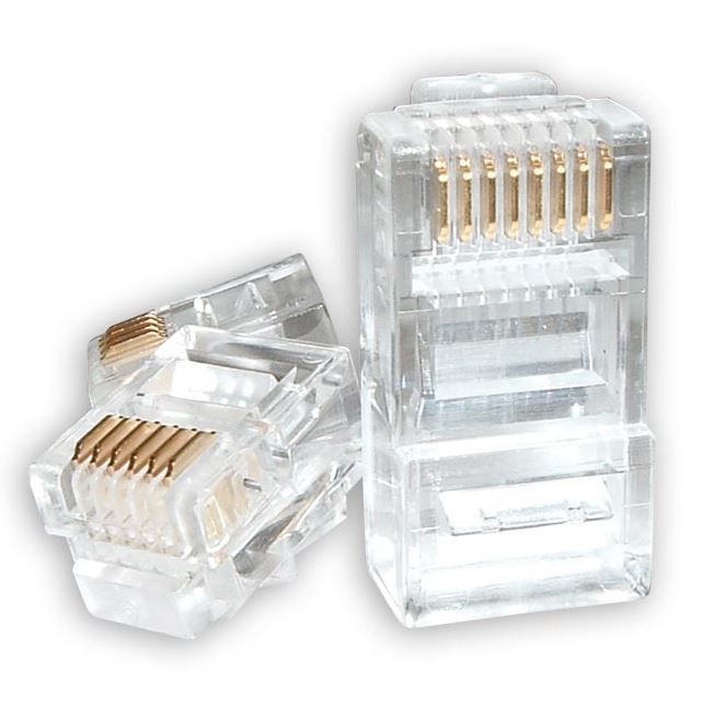Astrotek RJ45 Connector Modular Plug Crimp 8P8C CAT5e LAN Network Ethernet Head 2 Prong Blade 3u' Transparent (20/pack) ~CBATP-8P8C-5E-2