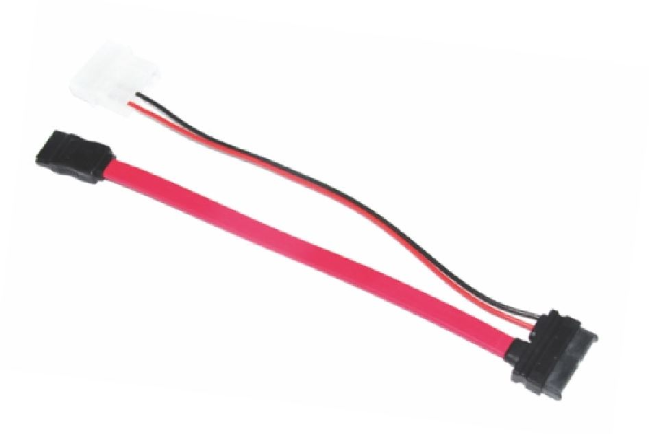 Astrotek Slim SATA Cable 50cm + 10cm 6 pins + 7 pins to 4 pins + 7 pins Red Colour